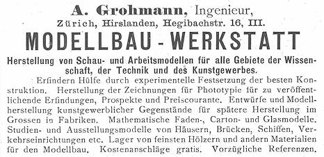 Anzeige von A. Grohmann.