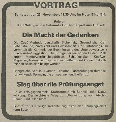 Inserat für einen Vortrag von Karl Nöthiger 1985.